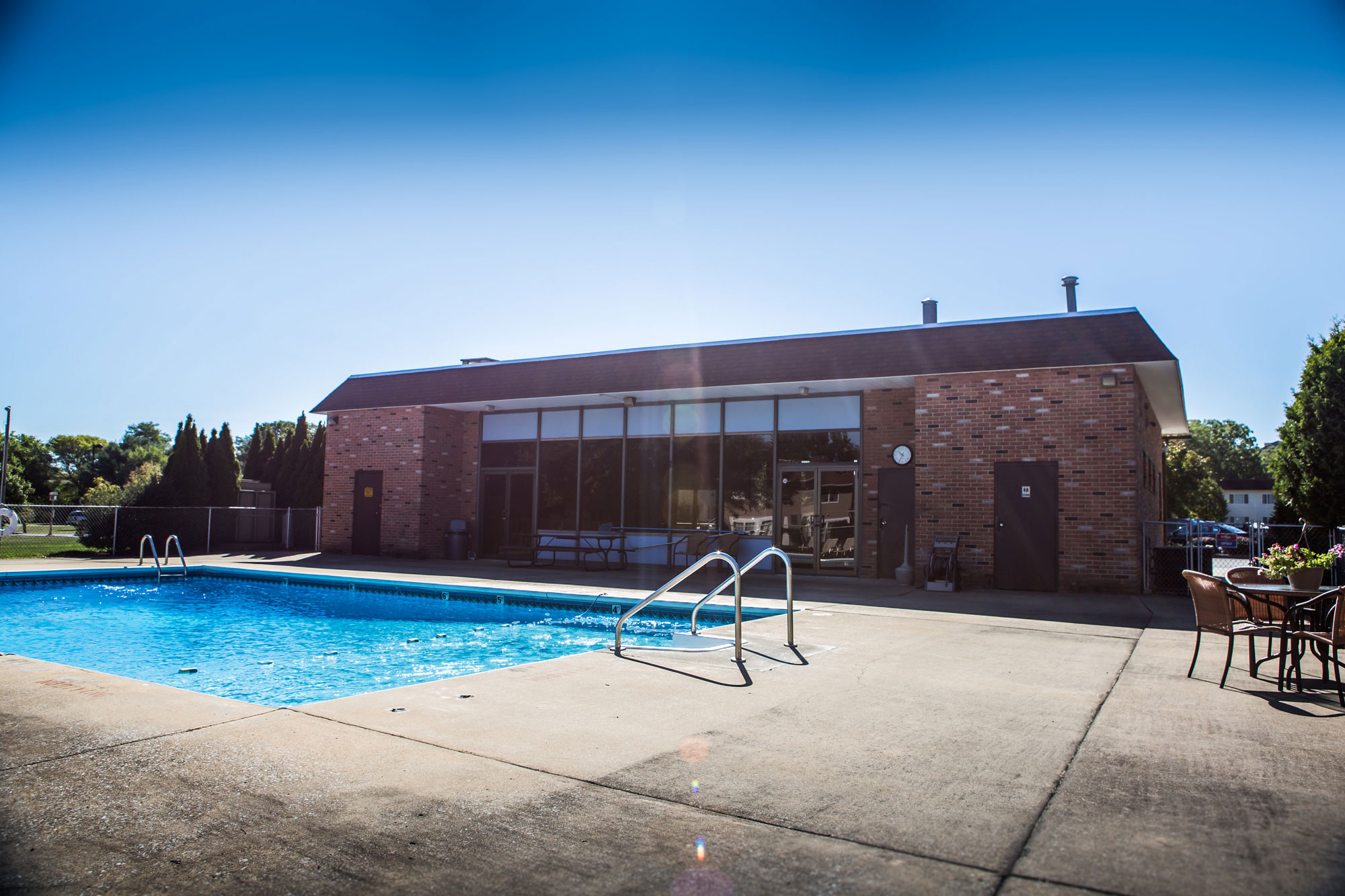 Private Outdoor pool behind the Sunbrook Manor Rental Office Building
